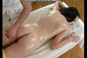 Suntanned sexy screwing after rub-down