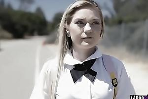 School girl Chloe got the brush juicy ass banged