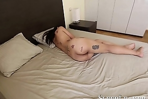 Hot tattooed Asian mollycoddle gets nailed as A she sleeps