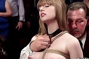 Flaxen-haired and brunette getting asses birch