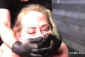 Blindfolded blonde cutie throat banged