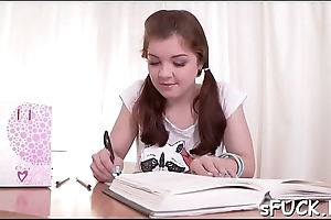 Seductive legal age teenager wanted to drill their way nice, studying buddy
