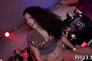 Brunette slots having it away hard and swallowing cream from darkling dick