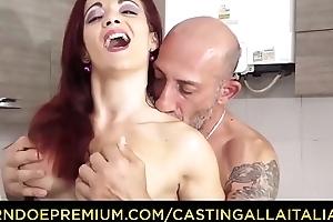 CASTING ALLA ITALIANA - Omar Galanti fucks in bush-league sexual connection tape with redhead Italian MILF Mary Rider