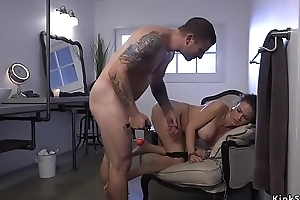 Busty parole functionary tied round and anal fucked