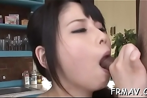 Eye-catching japanese beau pleases with wet irrumation