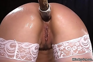 Shackled brunette ass gapped