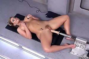 Huge tits Milf in tights fucks utensil