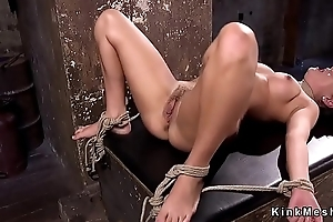 Busty spoil gets pussy shaved with an increment of vibed