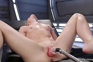 Skinny blonde simply fucks machine