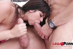Shy and Fat Butt Floosie Cornelia Lorenzini carbon copy penetrated by three huge cocks