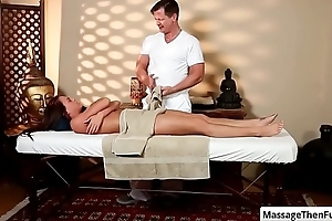 Brunette sexy babe Rahyndee James seduced hard by her masseur for a intercourse massage