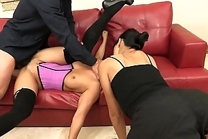 Horny dude gets a BJ before banging  two hot babes Asa Akira with an increment of Dana Vespoli on dramatize expunge couch