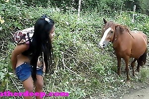 Heather bottomless 4 wheeling atop scary fast quad and peeing result from just about horses take a catch jungle youtube version