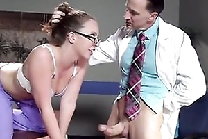 Sexy nurse in glasses gets properly fucked by the brush colleague